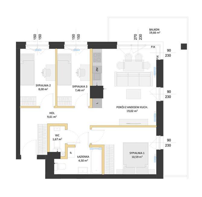 Rzut mieszkania - BM26
