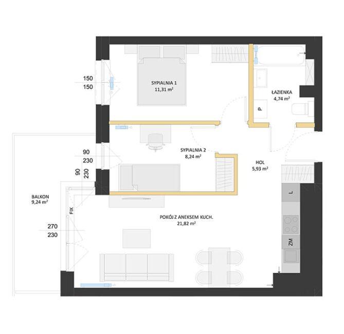 Rzut mieszkania - BM27