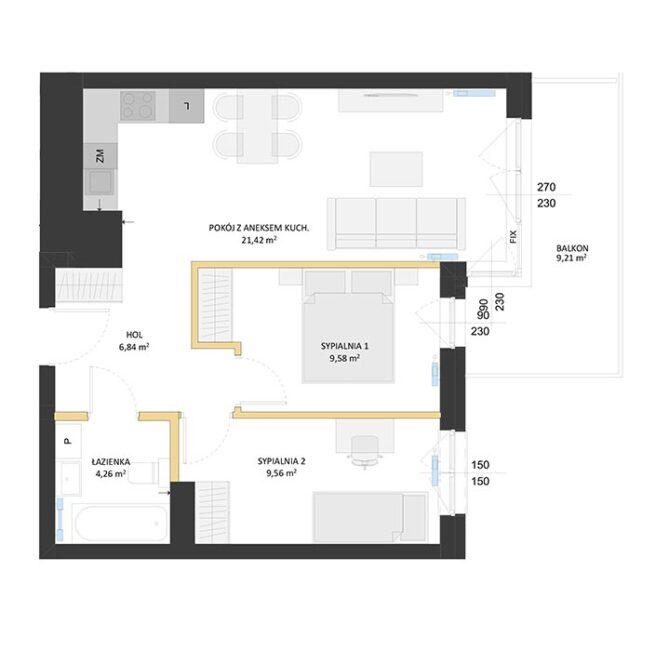 Rzut mieszkania - BM31