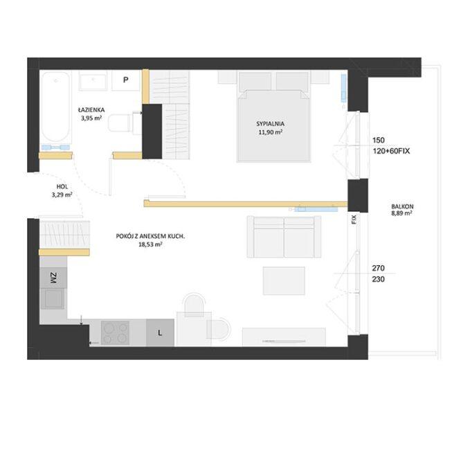 Rzut mieszkania - BM34