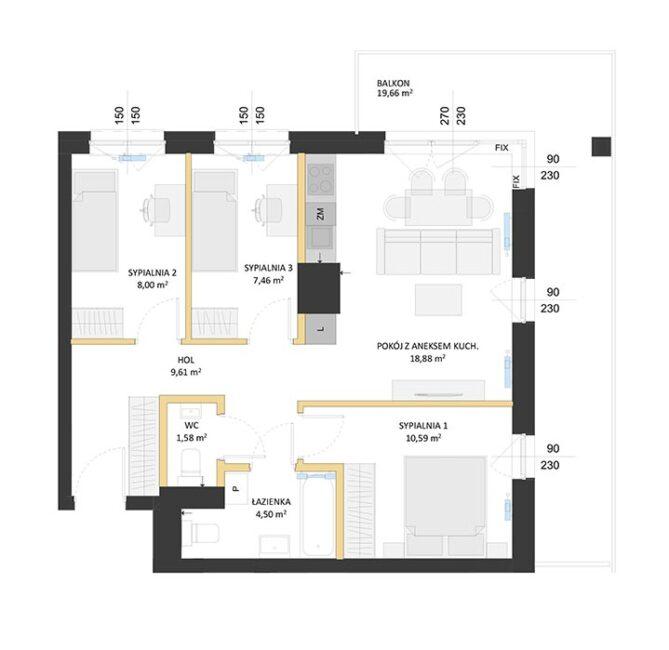 Rzut mieszkania - BM36