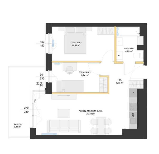 Rzut mieszkania - BM37
