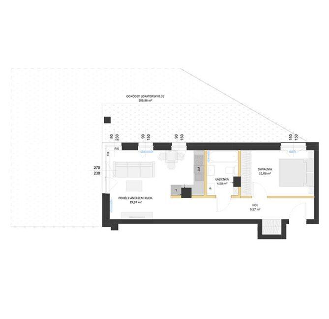 Rzut mieszkania - BM39