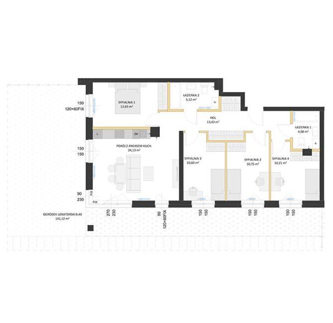 Rzut mieszkania - BM40