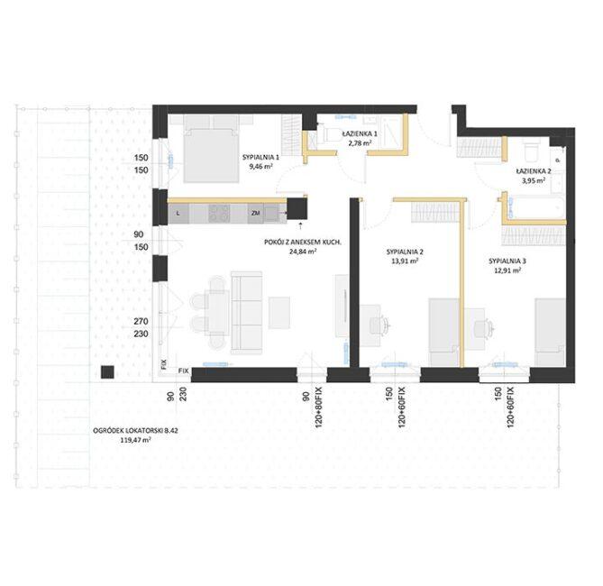 Rzut mieszkania - BM42