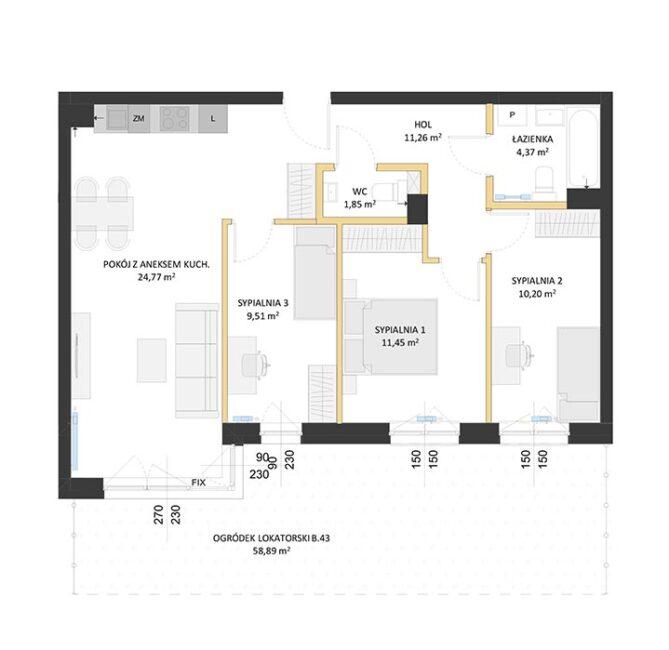 Rzut mieszkania - BM43
