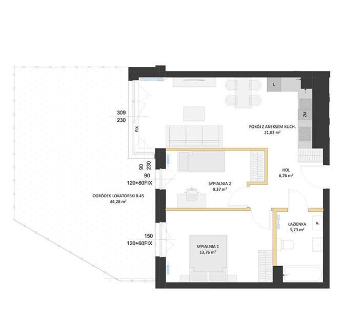 Rzut mieszkania - BM45