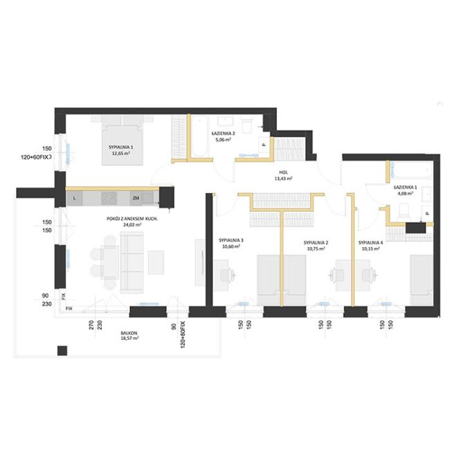 Rzut mieszkania - BM47