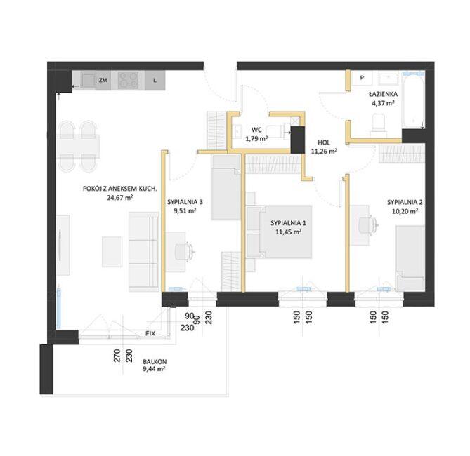 Rzut mieszkania - BM50