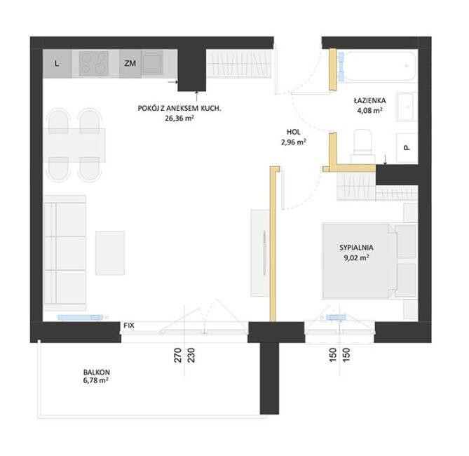 Rzut mieszkania - BM55