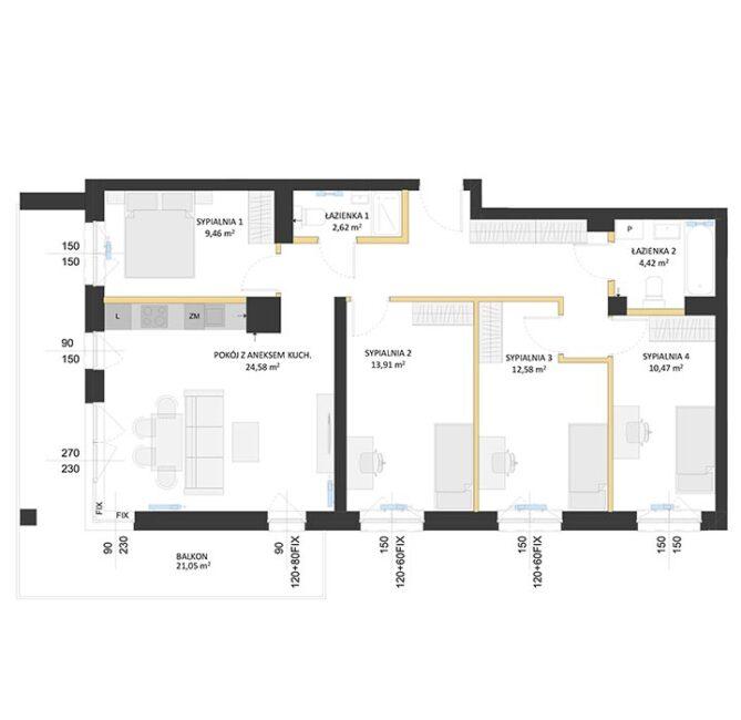 Rzut mieszkania - BM56