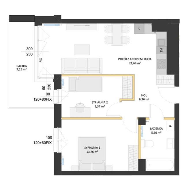 Rzut mieszkania - BM59
