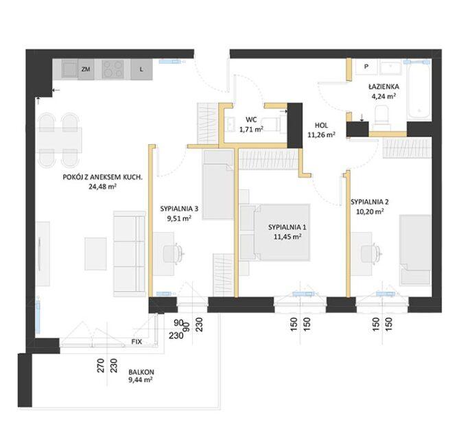 Rzut mieszkania - BM64