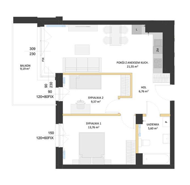 Rzut mieszkania - BM66
