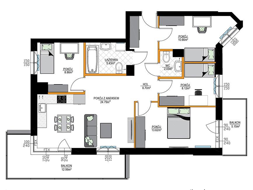 Rzut mieszkania - M08