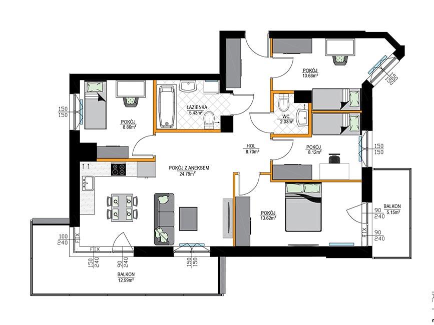 Rzut mieszkania - M16
