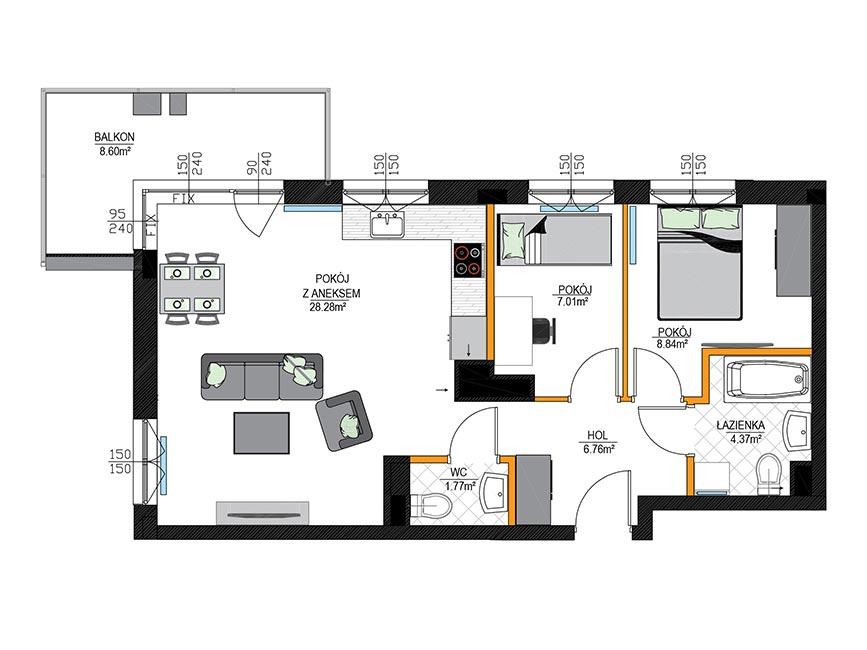 Rzut mieszkania - M18